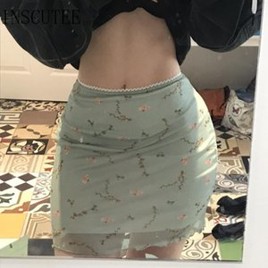 Sexy Green Femme Y2k Vintage Skirt Women Fairycore Floral Mesh Patchwork High Waist Asethetic Skirts Inscutee Cottagecore