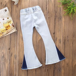 New Toddler Infant Child Kids Baby Girls Denim Bell-Bottom Long Pants Hit Color Wide Leg Jeans Trousers 700 X2