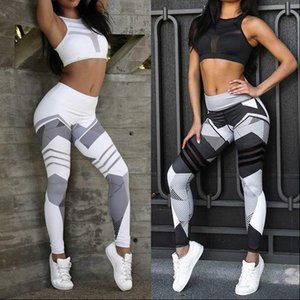 Mesh Pattern Print Leggings fitness Womens Legging For Women Sporting Workout Leggins Elastic Slim Black White Pants Sports bras