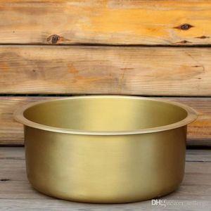 Brass Nordic Kitchen Sink Embedded Platform Basin Circular Single -Tank Dishwasher Basin Retro Fruit Washer Basin