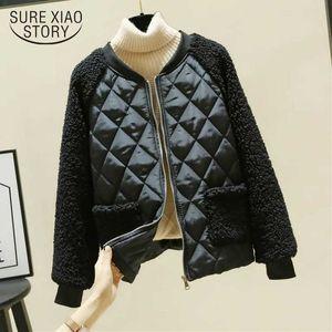 Thicken Winter Clothes Women Plus Size 3XL Loose Plaid Jackets Imitation Lamb Black Jacket Women Coats White Tops Chic 12307 210527