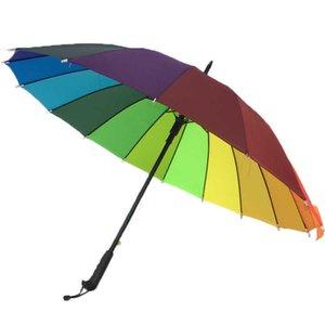 Creative Home Sundries Long Handle Rainbow Multi-functional Durable Semi-automatic Rain Umbrella Wholesale