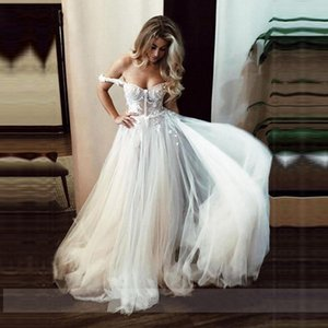 Lace Wedding Dresses 2021 Off The Shoulder Boho Bride Dress Sexy Backless A Line Wedding Gowns Vestidos de novia Spaghetti Straps