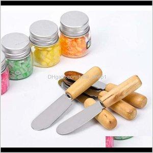 Knives 100Pcs Toast Scraper Kitchen Tool Stainless Steel Wooden Handle Butter Knife Cheese Dessert Jam Spread Qyluuj Pzmqn 78Heh