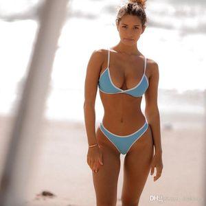 Sexy Mode Solide Farbe Bikini Frauen Nylon Dreieck Split Swimwear Sommer Strand Backless Badeanzug Bikini S-XL