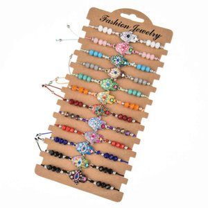 12 pcs set Fashion Enamel Fatima Hand Adjustable Bracelets Women Men Evil Eye Crystal Beads Friendship Bracelet Charms Jewelry GC207