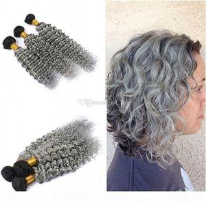 옴브 컬러 실버 그레이 딥 웨이브 헤어 Weaves 3PCS 처리되지 않은 100 인간의 머리 깊은 곱슬 1B 회색 머리 3Bundles 확장