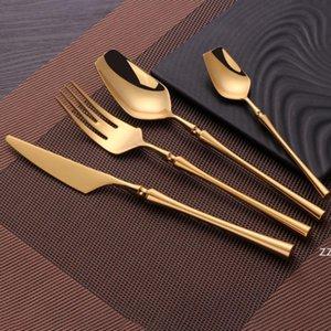 4pcs Set Stainless Steel Tableware Gold Cutlery Set Knife Spoon And Fork Set Dinnerware Korean Food Cutlery Kitchen Accessories HWF10509