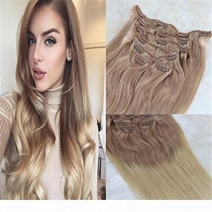 Remy Human Hair Clip in Weft Hair Extensions #18 Ash Blonde to #613 Blonde Ombre Clip on Extensions 7Pcs 120g