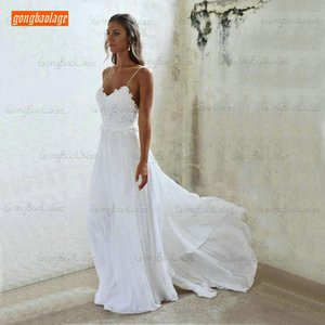 White Sexy Bohemian Women Ivory Wedding Dress for Party Gong Gym Sweetheart Chiffon Country Bridal Dresses