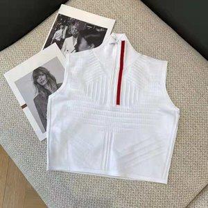Lady tops camisola de lã malha de camisetas com zíper ajustar a letra vermelha Pescoços listrados Mulheres casuais Slim Suéter sem mangas camisas Spring Outono estilo tamanho s-l