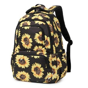 Sunflower Print Laptop Backpack With Reflective Strip Floral Girls Bookbags Women Casual Daypack Lightweight School Bag College