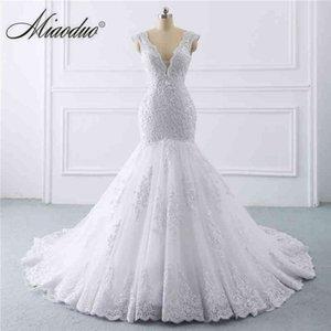 Mermaid 2021 Miaoduo Dress Vestidos Noiva for Women Pearls V-neck Lace Black Robe De Mariee Plus Size Wedding