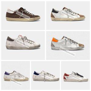 2021 Italien Marke Kleid Goldene Turnschuhe Stern Pailletten Klassische weiße do-alte schmutzige Schuhe Gans Designer Mann Frauen Casual Größe 36-45