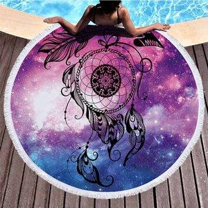 Mandala Universo Starry Sky Sueño Catcher Redondo Playa Toalla 150 cm Elefante Playa Toalla Toallas de Microfibra Serviette De Plage