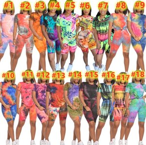 S~2XL Plus size Tie dyed Tracksuits Women Sweatsuits Summer clothing Two pcs outfits Short Sleeve T-shirt+Shorts 18colors Joggers Casual Sportswear DHL 4782