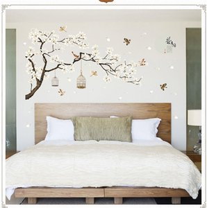 DIY Tree Wall Stickers Birds Flower Home Decor TV Wallpapers for Living Room Bedroom Rooms Decoration 187*128 cm
