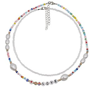 Bohemian Colorful Beads Chain Love Letters Necklace for Women Short Choker Beaded Pearl Necklaces Jewelry Christmas Gift 2PCS Set 371 G2