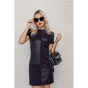Women Vintage Leather Patchwork Elegant Office Dress Long Sleeve O neck Solid Casual Mini Dress 2019 Winter New Fashion1