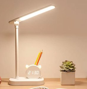 Creative Pen Holder Desk Night Lights With Clock Eye Protection Student Dormitory Study Bedside Large Capacity Super Long Endurance Lamp