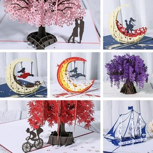 3D Anniversary Card Pop Up Card Red Maple Handmade Gifts Couple Thinking of You Card Wedding Party Love Valentines Day Greeting HHD6225