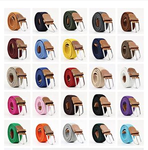 Hot belt Woven Stretch Braided Elastic Leather Buckle luxury canvas belts Casual elastic knitting pin buckle belt GWF8804