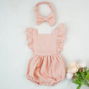 Organic Cotton Baby Girl Clothes Summer New Double Gauze Kids Ruffle Romper Jumpsuit Headband Dusty Pink Playsuit For Newborn 3M 618 Y2