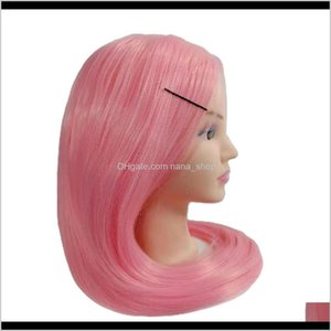 23Inch Pink Cosmetology Makeup Face Mannequin Manikin Heads With Hair,Salon Styling Practice Braiding Doll Head- Synthetic Hair N8Feg Uycav