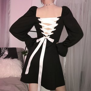 Casual Dresses Ladies Fashion Retro Square Collar Show Clavicle Ruffled Lace Up Spring and Autumn Dress