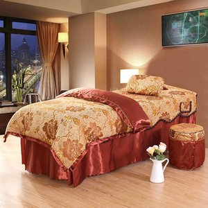 Bedding Sets Luxury 4pcs Beauty Salon Massage Spa Table Skirt, Pillow Cover, Stool Quilt Cover High Quality