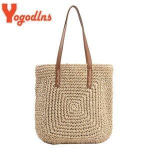 Вечерние сумки Yogodlns Летняя Большая емкость Соломенная сумка на плечо Сумка Rattan Beach Woven Wash Survey Lady Totes Торговая сумка сцепления