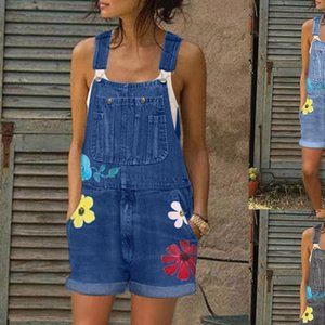 Bib shorts playsuits flower Womens Jeans printed blue Romper for Fashion Denim Pants Sexy Long Overalls R25