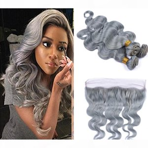 Fashion Color Silver Grey Body Wave Human Virgin Hair Lace Frontal With Bundles Gray Heat Resistant Hair Extension With Closure Grey Hair