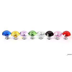 30mm Diamond Crystal Glass Door Knobs Drawer Cabinet Furniture Handle Knob Screw Furniture Accessories FWD6577