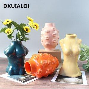 Keramik Körperkunst Design Blume Vase Weibliche Skulptur Vasen Kreative Hobby Vase Pflanzmaschine Home Decoration Zubehör 210409