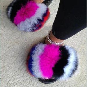 Women Summer Fluffy Fur Slippers Lovely Pom Slides Fuzzy Sandals Designer Beach Flip Flops Big Indoor House Shoes