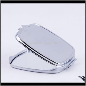 Décor Home Garden Drop Delivery 2021 Diy Make Up Mirror Iron 2 Face Sublimation Blank Plated Aluminum Sheet Girl Gift Cosmetic Compact Mirror