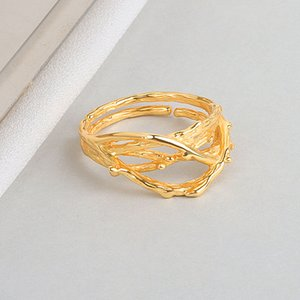Japan and South Korea S925 Sterling Silver Ring INS Niche Irregular Texture Accessories Light Luxury Trendy Jewelry