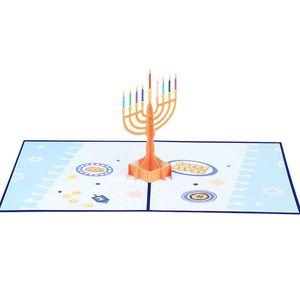Happy Hanukkah 3D Up Cards Celebrating Chanukah Menorah Greeting Card Jewish Festival of Light Gift Foldable Candle Holder Party GWA7761