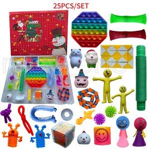 Christmas Advent Calendar Fidget Toy 25 Days Countdown Blind Box Sensory Finger Toys Bubbles Party Favor 25pcs set sea ship GWB10307