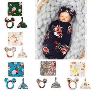 Newborn Baby Swaddle Blanket Bow Headband Hat 3 pcs Sleeping Bags Flower Butterfly Print Wrap INS Toddler Cartoon Sleep Sacks Photography Prop
