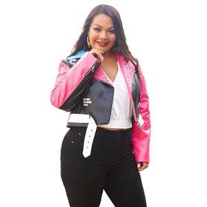 Splice PU Leather Jacket Women Full Sleeve With Zippers Rivets Outwear Autumn Winter Street Style Print Biker Women's & Faux