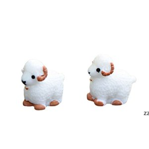 Mini Cute White Baby Sheep Lovers Plant Pot Doll Accessories Handicraft Moss Terrarium Micro Landscape Fairy Garden Desktop DIY HWD10367