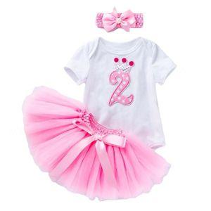 소녀의 드레스 여자 드레스 태어난 아기 2 번째 생일 복장 유아 부티크 의류 2 년 소녀 옷