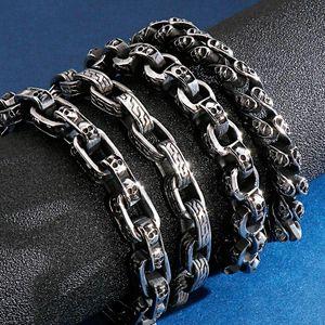 Punk Hiphop Biker Bracelet Men Kpop Retro Stainless Steel Charm Skull Bracelets Armband Jewelry Pulseira Accessories Gift 2021 Link, Chain