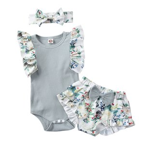 INS baby girls romper outfits Infant floral Fly Sleeve Jumpsuit + flower bow shorts+hairband 3pcs suits Toddler princess clothes S1003