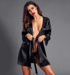 Kadın Pijama Seksi Dantel Lingerie Soyunma Kıyafeti Uzun Kollu Mini Gecelik Saten Robe Bornoz