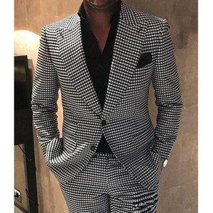 2021Houndstooth Groom Tuxedos Peak Lapel Wedding Tuxedo Fashion Men Jacket Blazer Men Prom Dinner Darty Suit(Jacket+Pants+Tie)