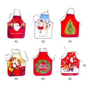Christmas Decorations Apron Xmas Tree Santa Claus Elk Printing Kitchen Tools 6 Style 18% Discount DHD10630