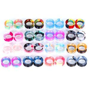 12 Adet Mix Renk Silikon Esnek Kulak Eti Tünel Fiş Piercing Karışık Renk Earlet Göstergeleri Genişletme Piercing Moda Takı 897 Q2